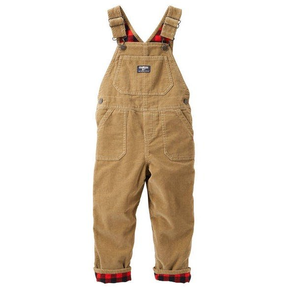 Flannel-lined condroy overalls